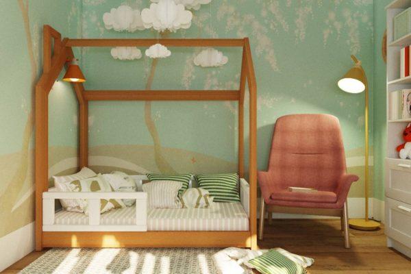 кровать домик из бука
