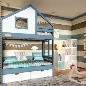 двухъярусная кроватка домик