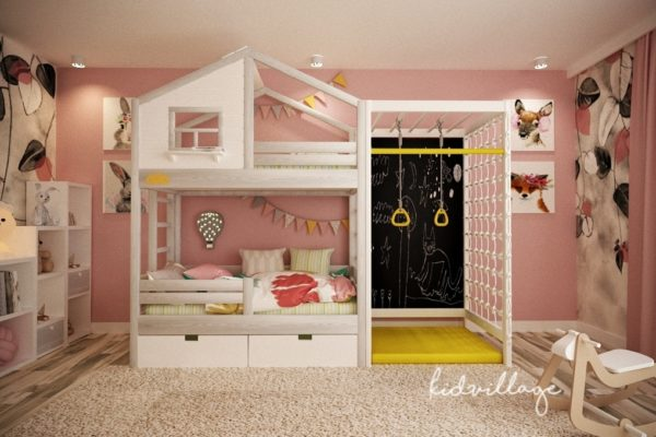 кровать домик с игровой домик