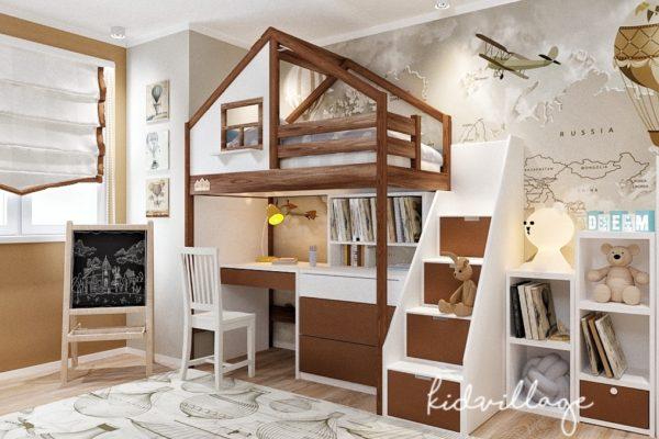 кровать домик с рабочим местом