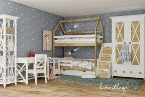 Двухъярусна кроватка из массива