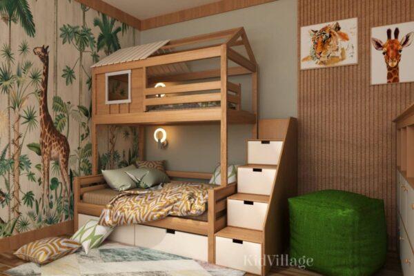 кровать домик с комодом1